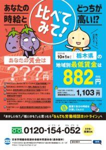 2021栃木県最低賃金